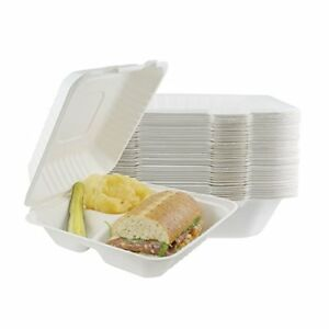 Houseables Take Out Food Containers Takeout Clamshell Container 100 Pack White