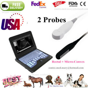 Vet Veterinary Portable Ultrasound Scanner Machine 2 Probes cow horse dog cat us