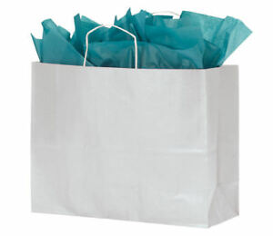 Paper Bags 100 White Kraft Shopping Handles Retail 16 X 6 X 12 High Large
