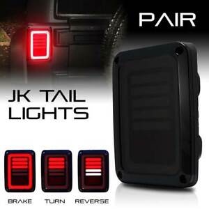 For Jeep Wrangler Jk Led Tail Lights Smoke Brake Reverse Turn Signal 07 17 Sae
