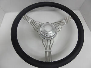 15 Stainless Steel Banded Banjo Steering Wheel Adapter Horn Button Combo