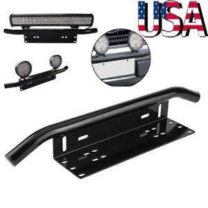 Bull Bar Front License Plate Mount Offroad Working Fog Light Bar Holder Bracket