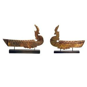 Two Antique Hong Bird Roof Carvings From Thailand