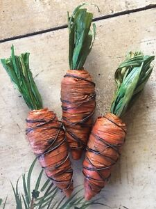 Set Of 3 Plump Primitive Carrot Easter Spring Rusty Wire Bowl Filler Farmhouse