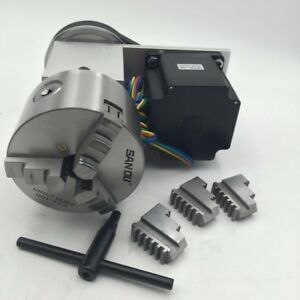 Rotary Axis 100mm Lathe Chuck Stepper Motor 4th A Axis 4 Chuck For Cnc Router