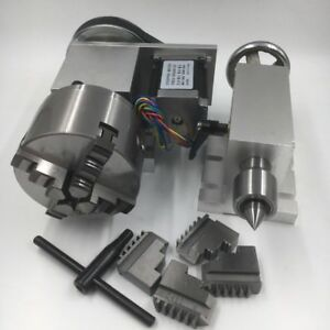 Rotary 4 Axis Nema23 Stepper Motor 4 jaw 100mm Lathe Chuck A Axis For Cnc Router