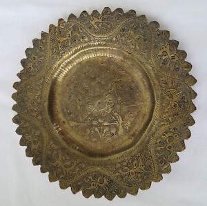 19th C Antique India Brass Small Tray W Etched Deer