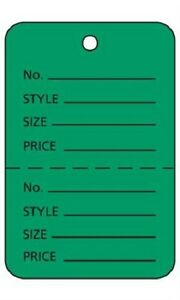 3000 Perforated Tags Price Sale Large 1 W X 2 H Two Part Green Coupon Tag