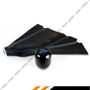 M10 X 1 5 Type R Style Blk Blue 6 Speed Gear Knob Leather Shift Boot For Honda