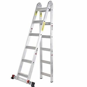 Aluminum Extension Ladder 12 Ft Multi Purpose With Built In Wheels Light Design