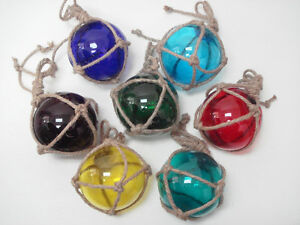 7 Pcs Assort Color Glass Float Ball With Fishing Net 5 Pick Your Colors