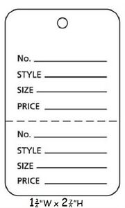 3000 Perforated Tags Price Sale Large 1 X 2 Two Part White Merchandise Tag