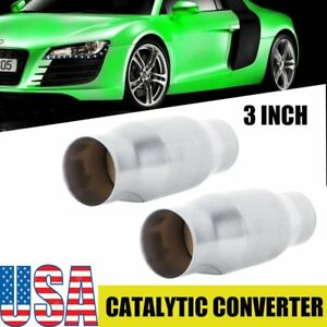 Two 3 Universal Thunderbolt Catalytic Converter High Flow Stainless Steel