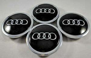 4 Pc Black Chrome For Audi Wheel Center Replacement Hub Cap 69mm 4b0601170a