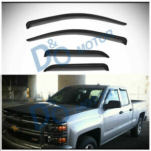 4pc Sun Rain Guard Vent Shade Window Visor Fit 14 18 Silverado Sierra Double Cab