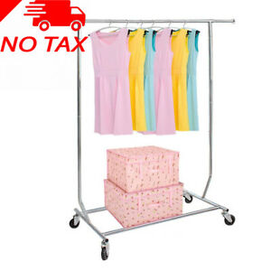 Heavy Duty Commercial Clothing Garment Rolling Collapsible Rack Hang Clothes