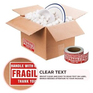 50 Roll Of 500 3x5 Fragile Sticker Handle With Care Thank You Shipping Label Red