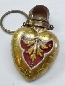 1860 S Antique Victorian Real Gold Painted Red Glass Crystal Scent Bottle Rare
