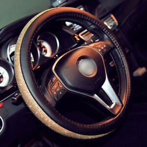 Luxury Gold Rhinestone Auto Car Steering Wheel Cover 38cm For Girls Ladies Shiny