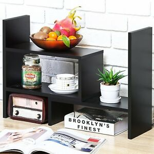 Desktop Book Shelf Office Supplies Desk Organizer Kitchen Organizers Wood Black