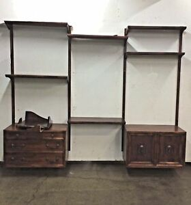 Vintage Mid Century Modern Hanging Wall Unit Bookcase Storage Cabinets