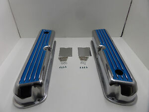 62 85 Sbf Ford 302 Blue Finned Polished Aluminum Tall Valve Covers 289 351w 5 0