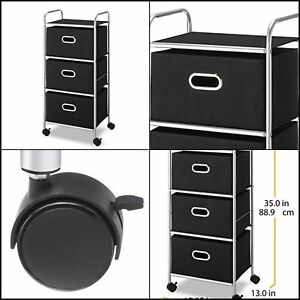 Rolling Storage Cart With 3 Fabric Drawers Handles For Home Office Black Silver