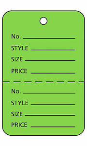 2000 Perforated Tags Price Sale Large 1 X 2 H Two Part Light Green Coupon