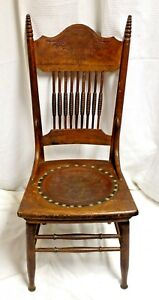 1910s English Tooled Leather Seat Hand Turned Quartersawn Pressed Back Oak Chair