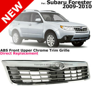 Chrome Silver Front Radiator Grille Grill For 09 10 Subaru Forester Upper Trim