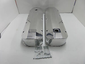 Bbc Chevy 454 Fabricated Aluminum Long Bolt Valve Covers Polished 427 Bbc 396