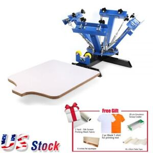 4 Color 1 Station T shirt Silk Screen Printing Machine Printing Press Equipment