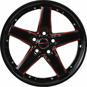 4 Gwg Wheels 17 Black With Red Mill Drift Rims Fits Hyundai Veloster 2012 2018