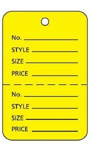 2000 Perforated Tags Price Sale Large 1 X 2 H Two Part Yellow Merchandise
