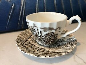 Royal Mail Ironstone Tea Cup With Saucer Full Size England Ribbing Victorian