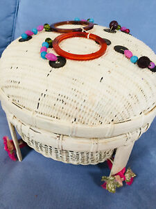 Large White Wicker Sewing Basket Covered Coins Beads Bakelite Decorations