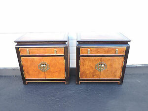 Hollywood Regency Pair Of Nightstands End Side Tables By Century 8442