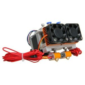 Geeetech 0 3mm Dual Head Nozzle Mk8 Extruder For 3d Printer With Cooling Fan