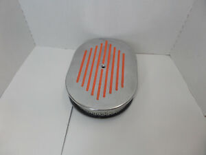 12 X 2 Polished Ball Milled Air Cleaner W Orange Stripes Chevy Ford Chrysler