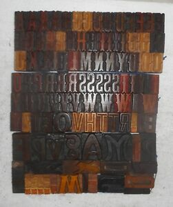 105 Piece Vintage Letterpress Wood Wooden Type Printing Blocks 42 M m Used