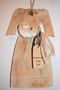 Cotton Or Apple Picking Dress Grungy Primitive Country Doll Wall Folk Art Decor