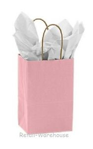 Paper Shopping Bags 100 Light Pink Retail Merchandise rose 5 X 3 X 8