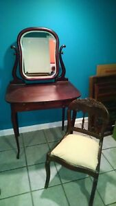 Vintage Mahogany Vanity With Mirror And Chair