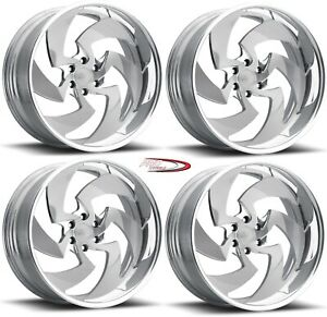 22 Billet Wheels Rims Forged Brushed Face Polished Lip Stinger 6 Mags Twisted