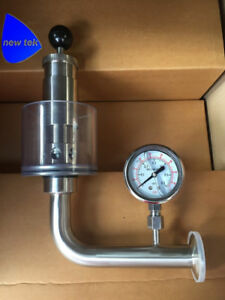 1 5 Tri clamp Ss304 Sanitary Air Pressure Relief Valve With Pressure Gauge