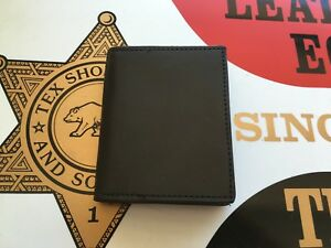 Tex Shoemaker Black Leather 2 3 4 Oval Police Shield Badge Id Wallet Cards