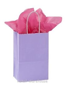 Paper Shopping Bags 100 Glossy Lavender Retail Merchandise 5 l X 3 d X 8 H