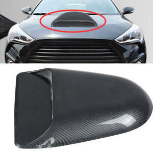 Car Decorative Air Flow Intake Hood Scoop Bonnet Vent Cover Carbon Fiber Black