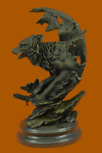 Handmade Celtic Moon Wolf Hot Cast Bronze Sculpture Marble Base Figurine Art
