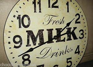 Milk Wood Wall Clock Farmhouse French Country Kitchen Primitive Dairy Decor 15